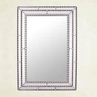Glass wall mirror, 'Walls of Silver' - Handcrafted Rectangular Silver-Tone Glass Mirror from Peru