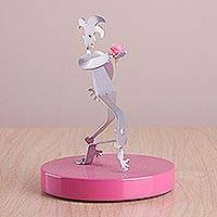 Aluminum and wood sculpture, 'Harlequin Love in Pink' - Aluminum Harlequin Sculpture with Pink Flower from Peru