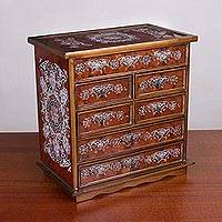 Wood jewelry chest, 'Loving Memories' - Large Wood Jewelry Chest with Six Drawers from Peru