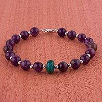 Amethyst and chrysocolla beaded bracelet,