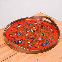 Reverse painted glass tray, 'Breathtaking Garden' - Red Floral Reverse Painted Glass Tray with Butterflies