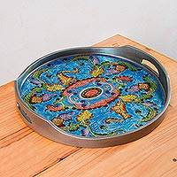 Reverse painted glass tray, 'New Blue Bloom'