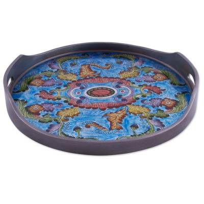 Reverse painted glass tray, 'New Blue Bloom' - Reverse Painted Glass Floral Tray in Blue from Peru