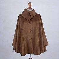 Baby alpaca blend cape, 'Encompass in Chestnut' - Chestnut Brown Baby Alpaca and Wool Blend Cape