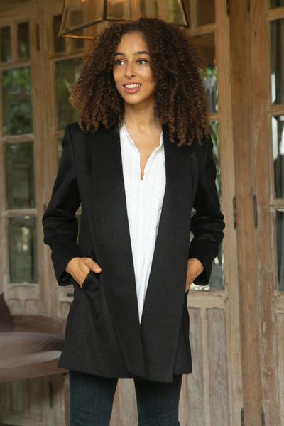 Alpaca blend coat, 'Elegance in Black' - Peruvian Alpaca Wool Blend Open Front Coat in Black