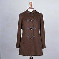 Alpaca blend coat, 'Peruvian Warmth in Chocolate' - Warm Peruvian Alpaca Wool Blend Coat in Chocolate Brown