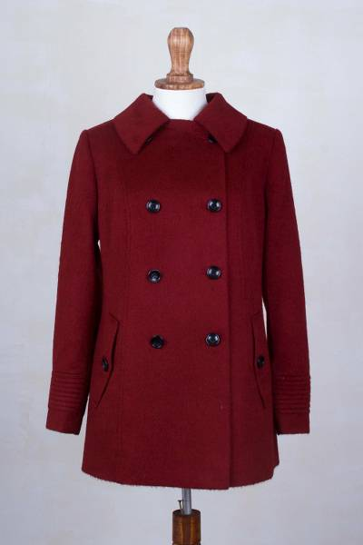 Baby alpaca blend coat, 'New World Classic in Claret' - South American Baby Alpaca Blend Pea Coat in Claret Red
