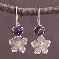 Amethyst dangle earrings, 'Blooming Dream' - Amethyst and Sterling Silver Dangle Earrings from Peru