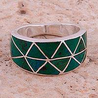 Chrysocolla band ring, 'Evergreen Love' - Chrysocolla and 950 Silver Band Ring from Peru