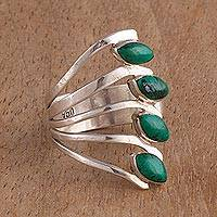Chrysocolla multi-stone ring, 'Radiant Leaves' - Chrysocolla and 950 Silver Leaf Multi Stone Ring from Peru