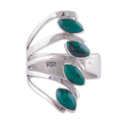 Chrysocolla and 950 Silver Leaf Multi Stone Ring from Peru