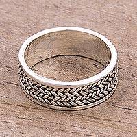Sterling silver band ring, 'Path of Leaves' - Sterling Silver Unisex Band Ring from Peru