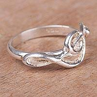 Silver band ring, 'Treble Clef' - 950 Silver Treble Clef Band Ring from Peru
