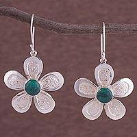 Chrysocolla dangle earrings, 'Floral Fantasia' - Chrysocolla and 950 Silver Floral Dangle Earrings from Peru