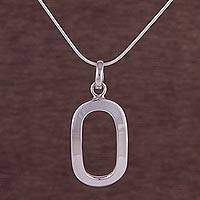 Sterling silver pendant necklace, 'Oval Shine' - 925 Sterling Silver Oval-Shaped Pendant Necklace from Peru