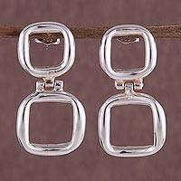 Sterling silver dangle earrings, 'Square Windows' - Sterling Silver Square-Shaped Dangle Earrings from Peru