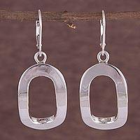 Sterling silver dangle earrings, 'Oval Shine' - Sterling Silver Oval-Shaped Dangle Earrings from Peru