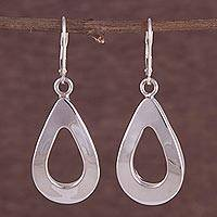 Sterling silver dangle earrings, 'Drop Shine' - 925 Sterling Silver Drop-Shaped Dangle Earrings from Peru