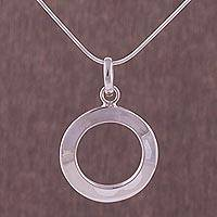 Sterling silver pendant necklace, 'Circle Window' - 925 Sterling Silver Circular Pendant Necklace from Peru