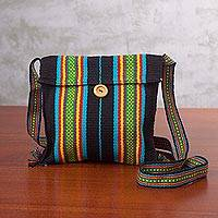 Cotton sling bag, 'Striped Fantasy in Black' - Handcrafted Black Striped Cotton Sling Bag