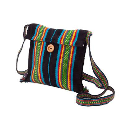 Novica Cotton sling bag, Striped Fantasy in Black