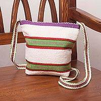 Cotton sling, 'Colorful Valleys' - Handcrafted Striped Natural White Cotton Sling from Peru
