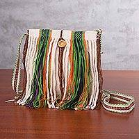 Cotton sling bag, 'Timid Love' - Handcrafted Multicolored Striped Cotton Sling from Peru