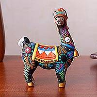 Ceramic figurine, 'Alluring Llama' - Hand-Painted Ceramic Llama Figurine from Peru