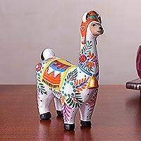 Ceramic figurine, 'Exuberant Llama' - Hand-Painted Ceramic Llama Figurine from Peru