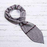 Men's 100% alpaca scarf, 'Elegant Man in Smoke' - Hand-Knit Men's Striped 100% Alpaca Scarf in Smoke from Peru