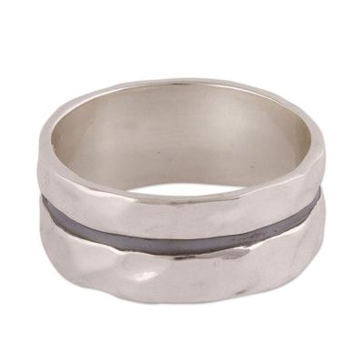 Sterling silver band ring, 'Glittering Ripples' - Artisan Crafted Sterling Silver Double Band Ring from Peru
