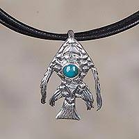Chrysocolla pendant necklace, 'Surreal Fish' - Chrysocolla and Sterling Silver Fish Necklace from Peru