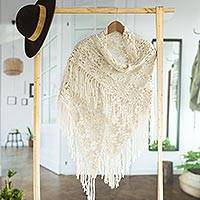 100% alpaca shawl, 'Ivory Angel' - Hand-Crocheted 100% Alpaca Floral Shawl in Ivory from Peru