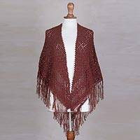 100% alpaca shawl, 'Russet Symmetry' - Hand-Crocheted 100% Alpaca Shawl in Russet from Peru