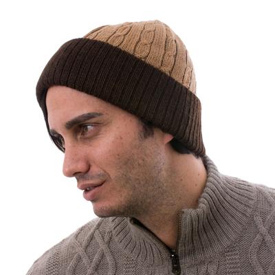 Knit 100% Alpaca Hat in Tan and Mahogany from Peru