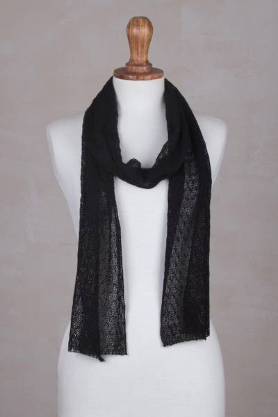 100% baby alpaca scarf, 'Elegant Road' - Hand-Crocheted 100% Baby Alpaca  Scarf in Black from Peru