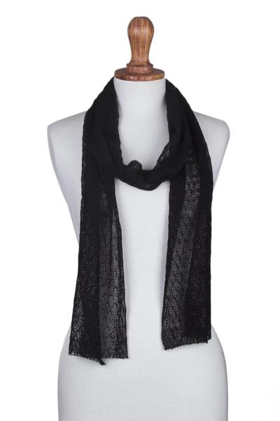 100% baby alpaca scarf, 'Elegant Road' - Hand-Crocheted 100% Baby Alpaca  Scarf in Black from Peru
