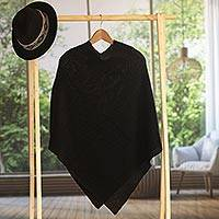 100% alpaca poncho, 'Enchanted Evening in Black'