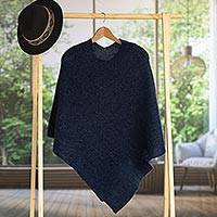 100% alpaca poncho, 'Enchanted Evening in Indigo' - Knit Indigo 100% Alpaca Poncho from Peru