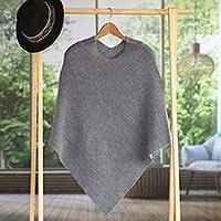100% alpaca poncho, 'Enchanted Evening in Smoke'
