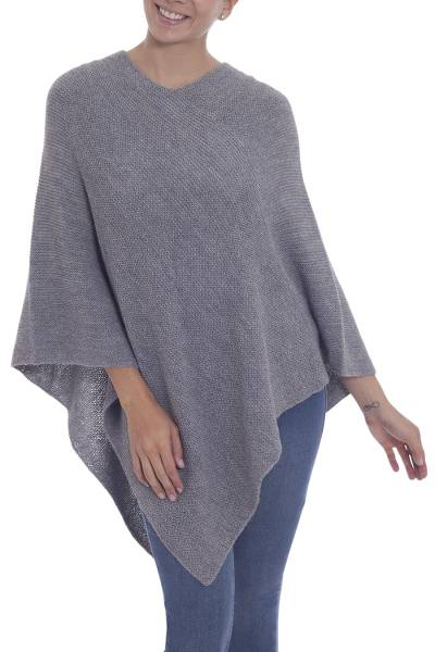 100% alpaca poncho, 'Enchanted Evening in Smoke' - Knit Grey 100% Alpaca Poncho from Peru
