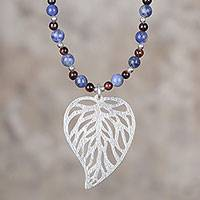 Sodalite and tiger's eye pendant necklace, 'Instinctual Nature' - Sodalite and Tiger's Eye Leaf Pendant Necklace from Peru