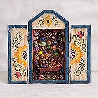 Wood retablo, 'Hat Shop' - Hand-Painted Wood Retablo of a Hat Shop from Peru