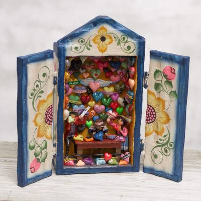 Wood retablo, 'Heart Shop' - Handcrafted Wood Retablo with Hearts from Peru