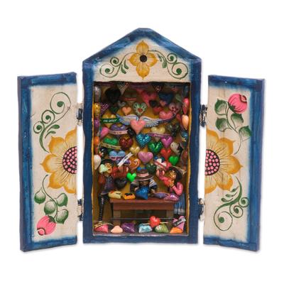 Wood retablo, 'Heart Shop' - Handcrafted Wood Retablo with Hearts from Peru