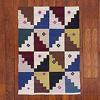 Reversible wool area rug, 'Two Sides of Harmony' (3x5) - 3x5 Handwoven Reversible Wool Area Rug fro Peru