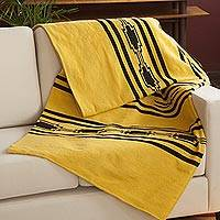 Alpaca blend throw, 'Andean Flight' - Handwoven Alpaca Blend Throw in Amber from Peru
