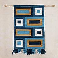 Wool tapestry, 'Andean Awakening' - Handwoven Geometric Wool Tapestry from Peru