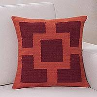 Wool cushion cover, 'Sweet Sunset' - Handmade 100% Wool Red Pink Sunset Cushion Cover from Peru