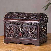 Cedar and leather decorative chest, 'Bird Paradise'